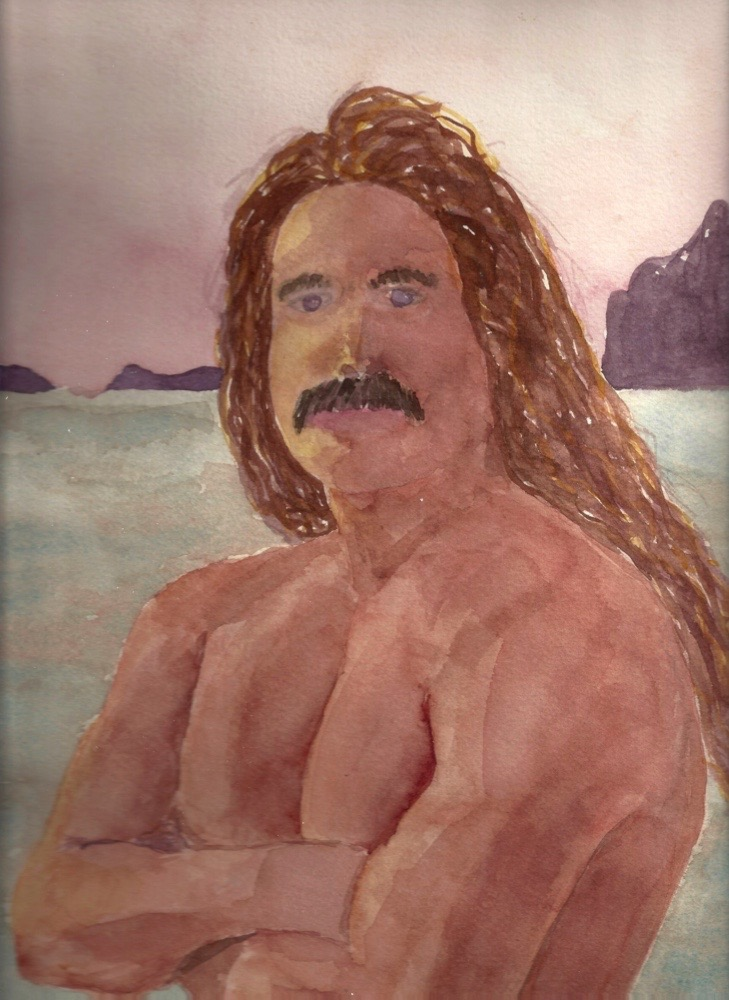 Roxanne Darling, Hawaiian Man from Hana Hou, watercolor, 10x14