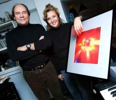 Avec François Doyon concepteur viauel et éclairagiste, le 24 octobre 2008. Photo: Martine Doyon