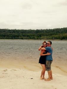 Mr HB and me frolicking on Stradbroke Island