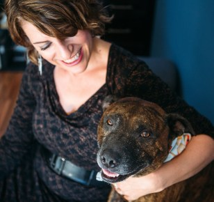 Roxy Brisbane Based Celebrant with her rescue dog, Valentine McFarty