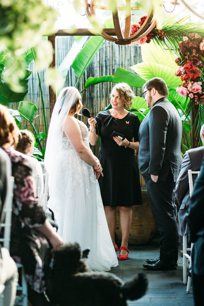 Brisbane celebrant Roxy Hotten delivers wedding ceremony at Hunter and Scout