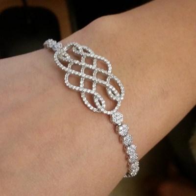 Cubic Zirconia Silver Woven bracelet Silver Bracelet Roya Jewels