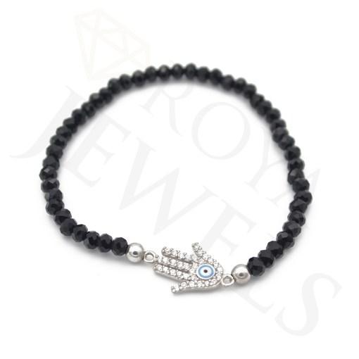 Black Hamsa Eye Bracelet Cubic Zirconia Sterling Silver - RoyaJewels