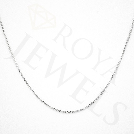 Plain White Chain Rhodium Plated Sterling Silver Plain White Necklace Chain