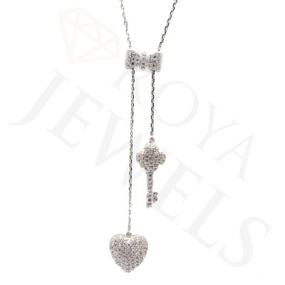 Tie Your Key To My Heart Lariat White Necklace