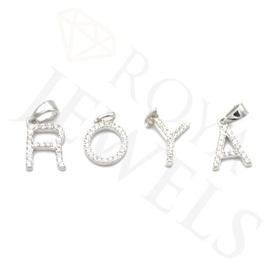 White Initial Pendant Customize Personalize Memorialize Rhodium Plated Sterling Silver and Cubic Zirconia