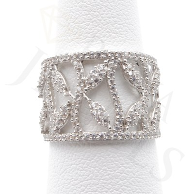 White Leaf Ring Cubic Zirconia Sterling Silver