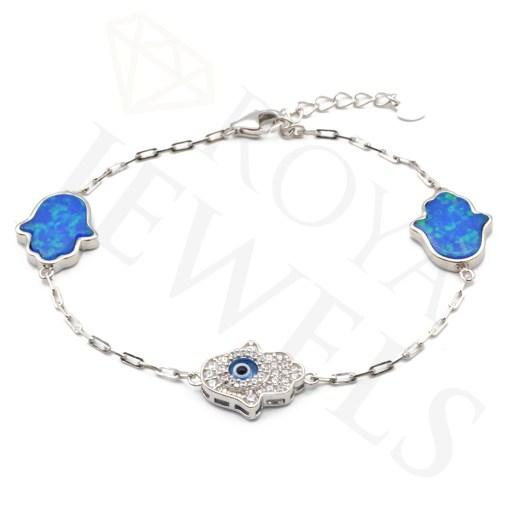 Evil Eye Hamsa Blue Opal Bracelet Hamsa Silver Bracelet Roya Jewels