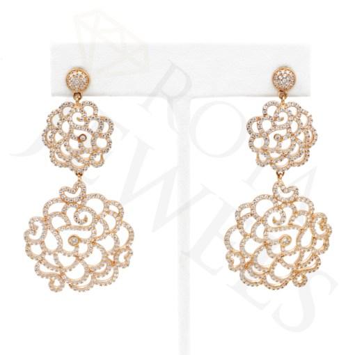 Filigree Dangle Post Rose Gold earrings Rose Roya Jewels