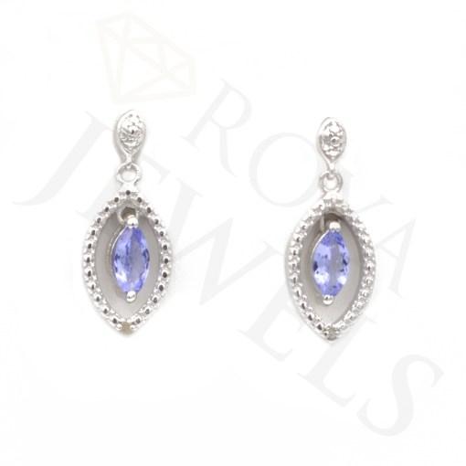 Marquise Tanzanite Drop Earrings Earr Silver Roya Jewels