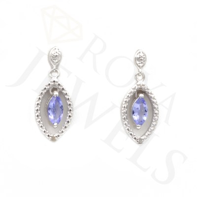 Marquise Tanzanite Drop Earrings Earr Silver Roya Jewels