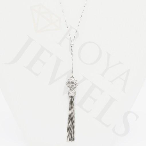 Tassel Necklace - Sterling Silver Cubic Zirconia - Roya Jewels