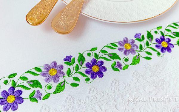 Дизайн машинной вышивки бесплатно Цветочный бордюр