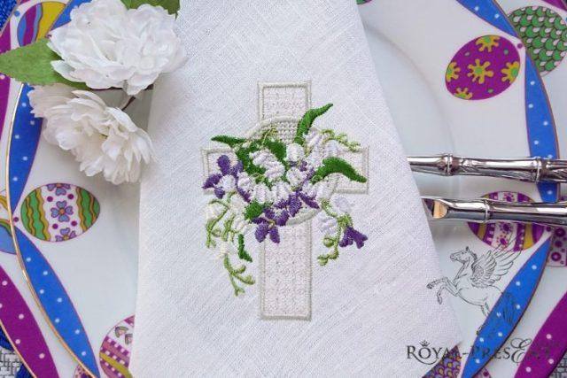 Дизайн машинной вышивки Пасхальный крест с ландышами - 2 размера