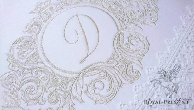 Дизайн машинной вышивки Барокко Контурный для монограммы