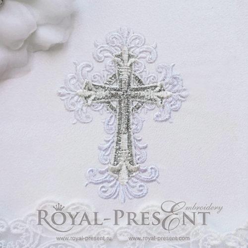 Дизайн машинной вышивки Трехцветный Крест
