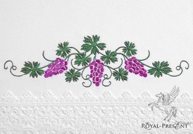 Дизайн машинной вышивки Виноградный бордюр - 3 размера