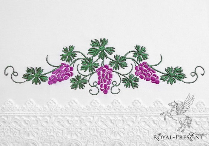 Machine Embroidery Design Graceful Grapes border