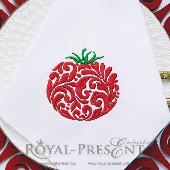 Дизайн машинной вышивки Орнаментальный помидор