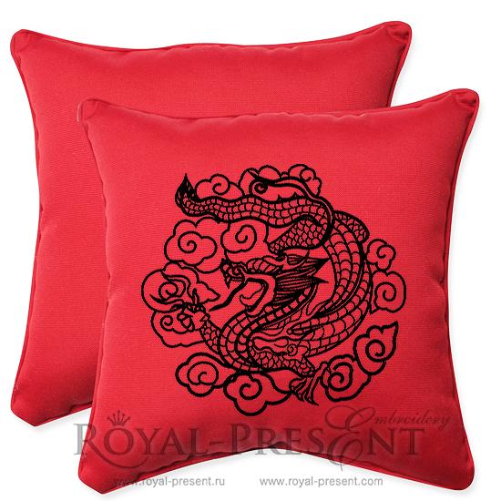 Дизайн для машинной вышивки Традиционный китайский орнамент Дракон - 2 размера