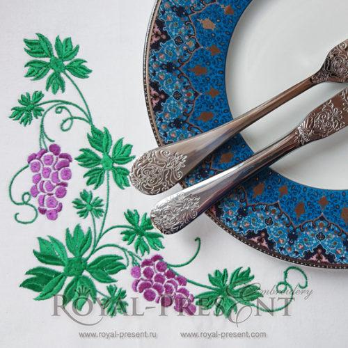 Угловой дизайн машинной вышивки Гроздья винограда