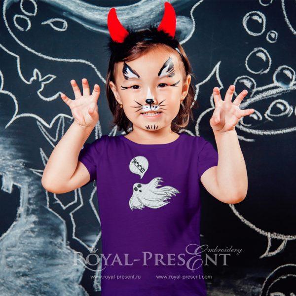 Призрак Хэллоуина Дизайн машинной вышивки