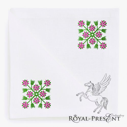 Flowers Square Quilt Block Embroidery Design