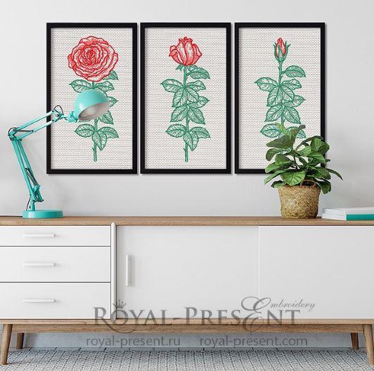 Дизайны машинной вышивки Триптих винтажные розы