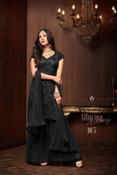 streamlined-black-color-heavy-embroidered-net-full-moti-work-suit