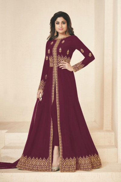 gracious-maroon-color-heavy-georgette-embroidery-work-long-length-suit
