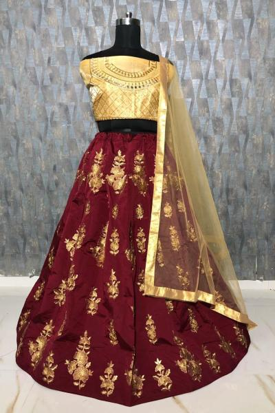 mesmerizing-brown-color-taffeta-silk-zari-embroidered-work-lehenga