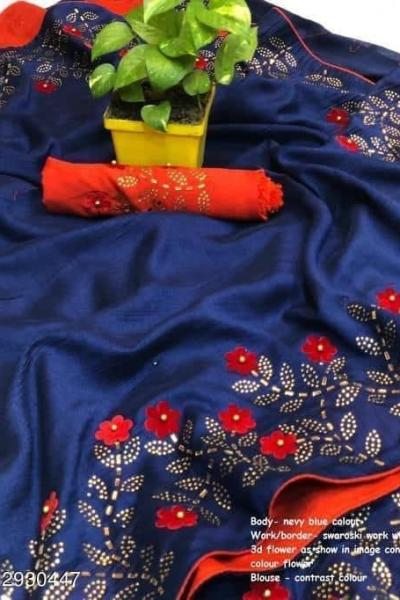effective-blue-color-zoya-silk-with-swaroski-diamond-work-border-saree