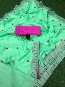 Luminous Green Color Zoya Silk With Diamond Work Border Classic Saree