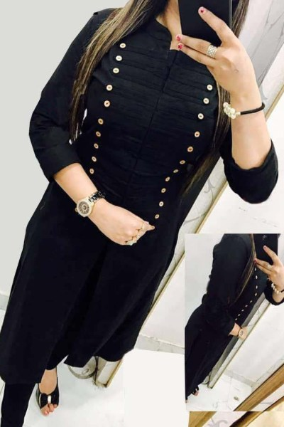 casual-wear-beautiful-black-color-high-slub-cotton-selfi-kurti