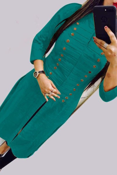 casual-wear-beautiful-green-color-high-slub-cotton-selfi-kurti