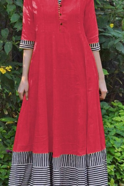 magical-red-color-slubby-cotton-casual-wear-long-flair-print-gown