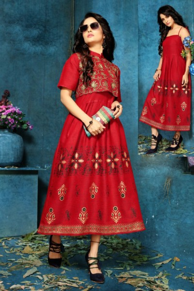 red-color-two-tone-high-quality-rayon-with-foil-print-kurti-with-jacket