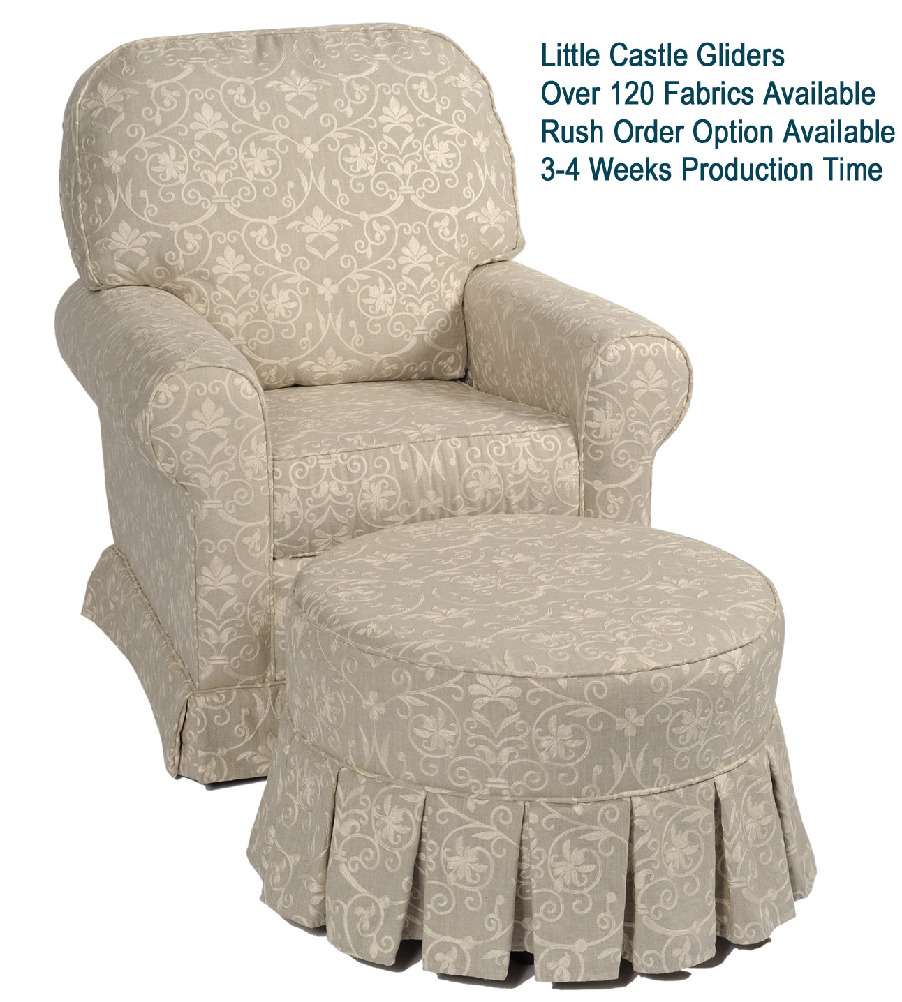 little castle chair and half glider loveseat lawn royal bambino | shop online for nursery bedding, gliders baby gifts