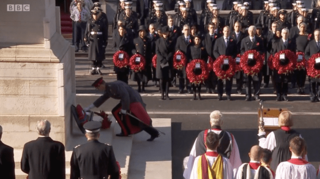 An Equerry lays a wreath on behalf of Prince Philip at the Cenotaph