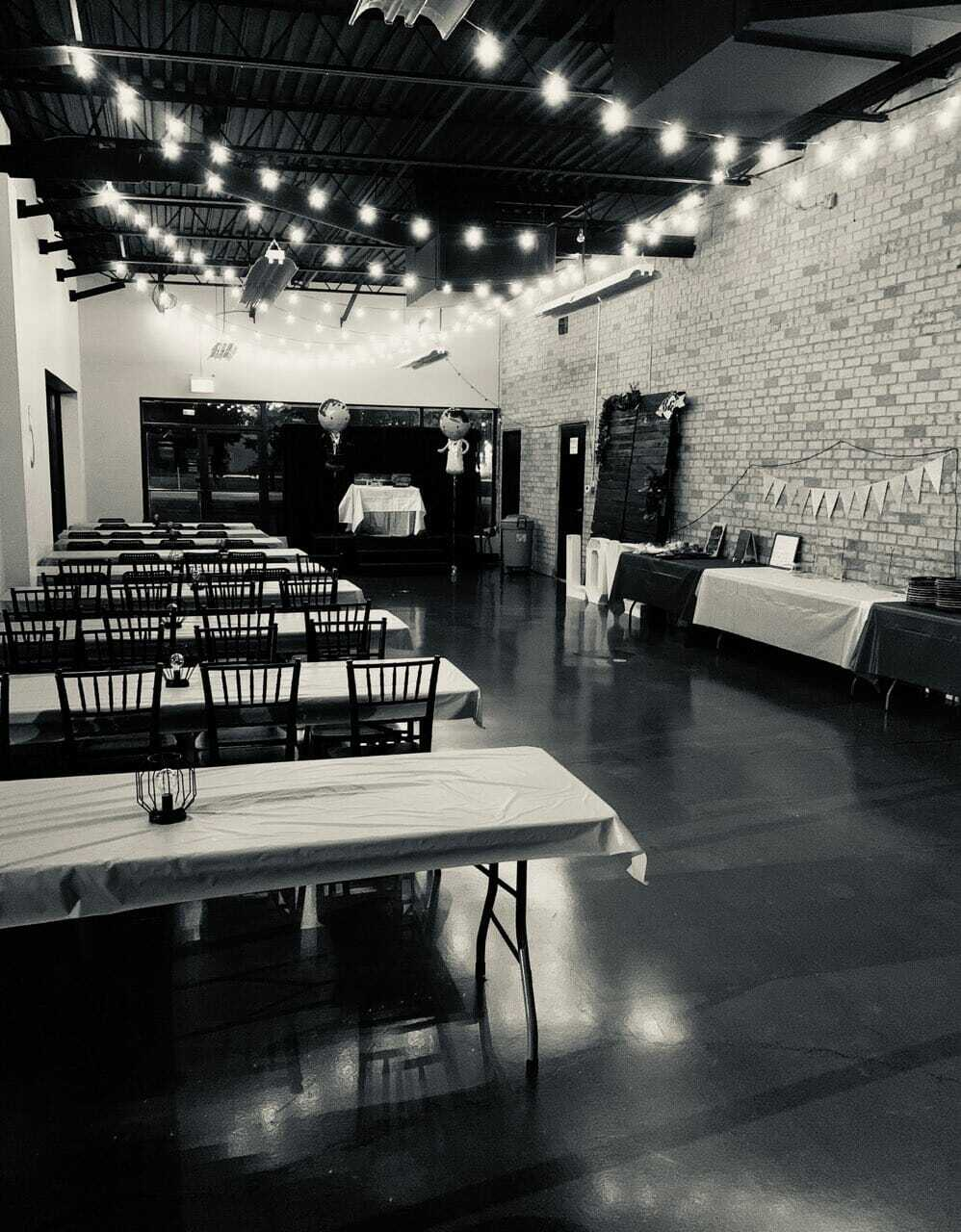 Black and White of the Music Hall set up for a wedding reception