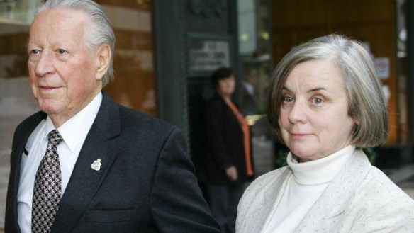 ken dyers and janice hamilton leaving court