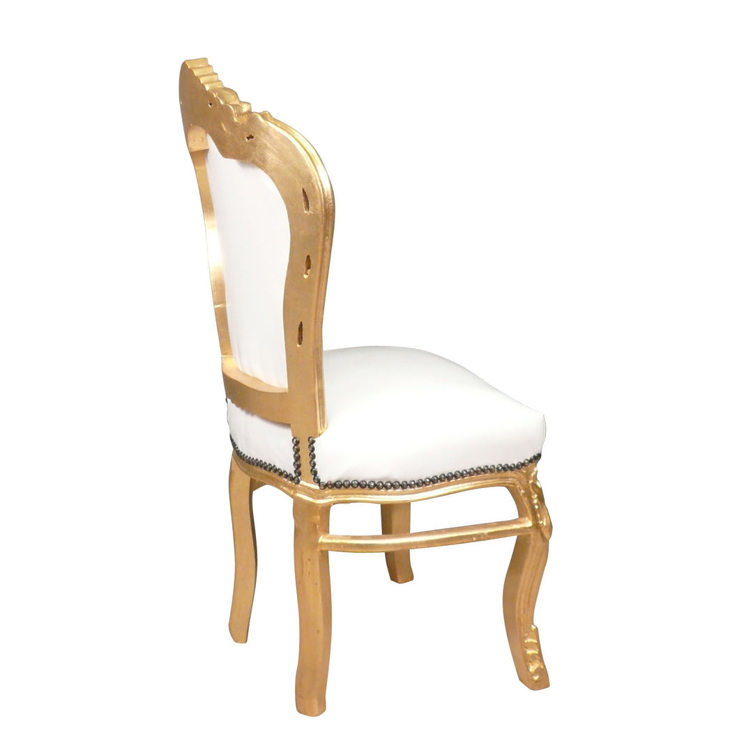 White And Gold Chair Baroque Chair White And Gold Bronze Statues