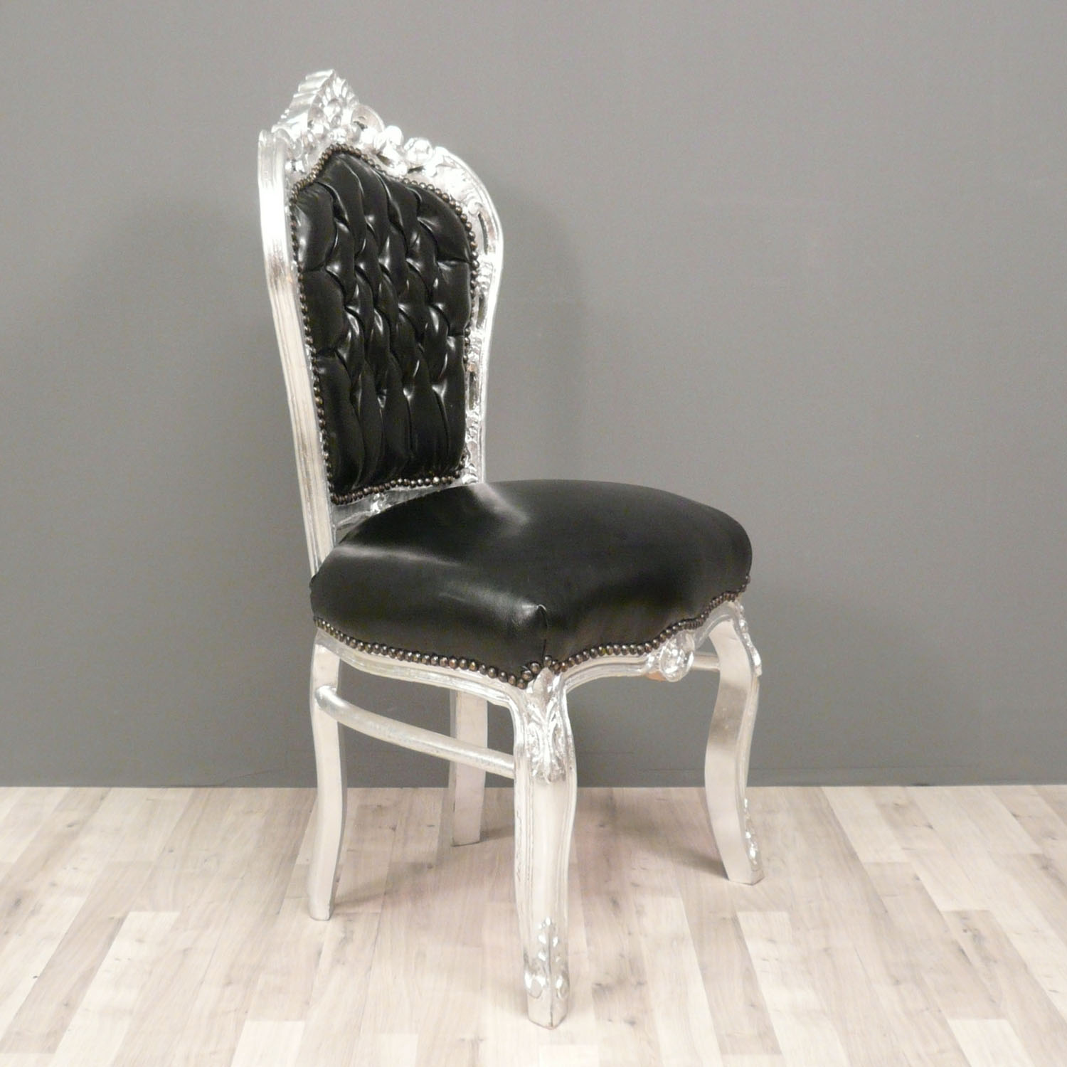 Silver Chairs Baroque Black And Silver Chair In Pvc Fabric Armchairs
