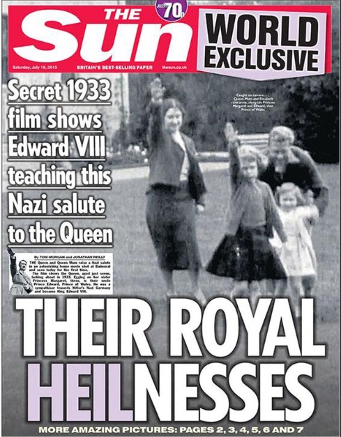 ANOTHER ROYAL CONNECTION: FRONT PAGE STORY :18  JULY 2015
