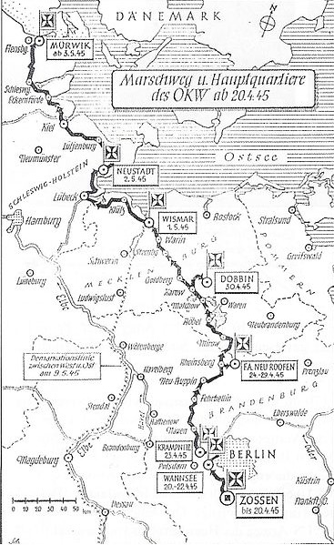 German map showing Dobbin, Merklenburg, north of Berlin