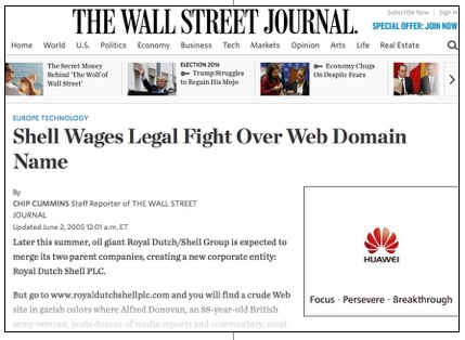 Shell Wages Legal Fight Over Web Domain Name royaldutchshellplc com