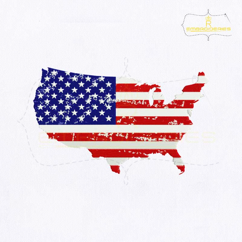 Every country has its own flag even their states too. American Flag Map Embroidery Design Royalembroideries
