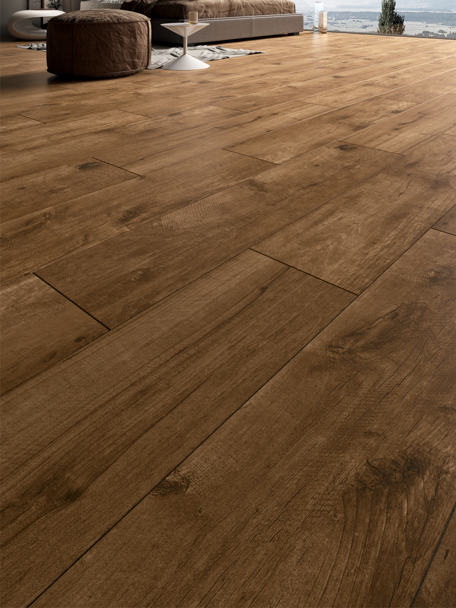 cherry oak wood indoor porcelain floor tile 1200x300 mm
