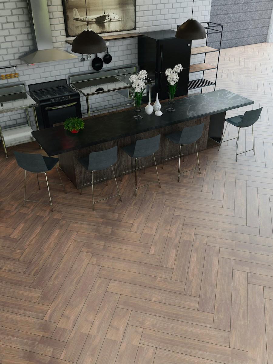 atelier walnut wood effect herringbone tile 900x150 mm