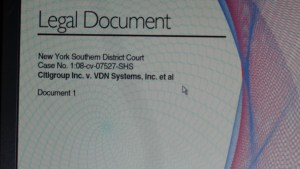"The cover page to the 2008 ""Cybersquatting"" lawsuit filed by Citigroup against VDN Systems and various other business identities of Truc V. ""Curt"" Tran."